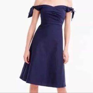 J Crew Navy Blue Off-Shoulder Dress
